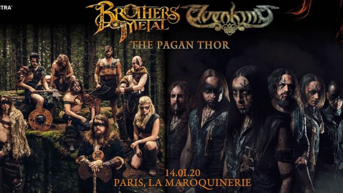 Gagne tes places pour le concert de Brother Of Metal à Paris - A group of people posing for a photo - Brothers Of Metal & Elvenking 20.01.20 Backstage München